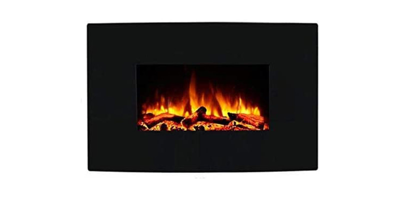 Endeavour Fires - Egton Black Glass Wall Mounted Electric Fire
