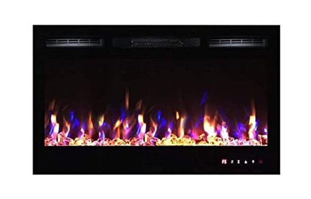 TruFlame - Black Wall Mounted Electric Fire with 3 colour Flames