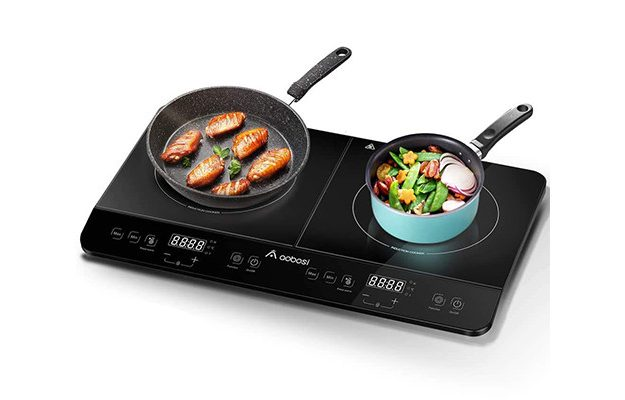 Aobosi - Black Crystal Double Induction Hob