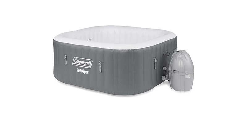 Coleman SaluSpa 4 Person Square Portable Inflatable Outdoor Hot Tub Spa